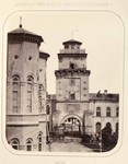 Carol Papp de Szathmary - Albumul Romania, vedere cu latura de vest a turnului Coltei si parte a curtii si Palatului Sutu